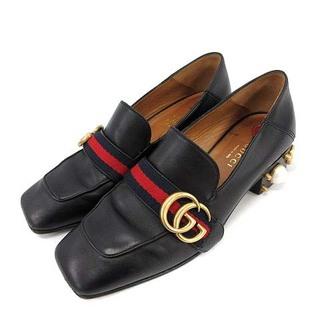 グッチ(Gucci)のグッチ GGパールウェブ シェリーライン ローファー チャンキーヒール 36 黒(ローファー/革靴)