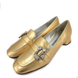 プラダ(PRADA)のプラダ ローファー チャンキーヒール スクエアトゥ レザー ビジュー 36.5(ローファー/革靴)