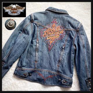 Harley Davidson - ハーレーダビットソン デニムジャケット/Gジャン 刺繍 スタッズ