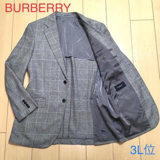 バーバリー(BURBERRY)の極美品★バーバリー シルクリネン混 極上グレー系チェックジャケット 麻 A310(テーラードジャケット)
