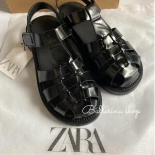 ZARA - ZARA フラットケージサンダル グルカサンダル ブラック 36