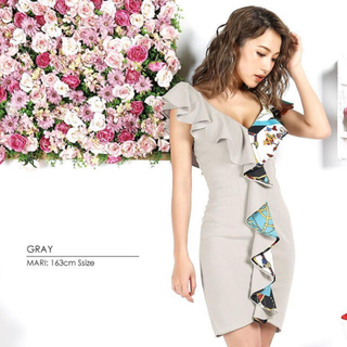 dazzy store - 【美品】AngelR同型 スカーフ柄フリル タイトミニドレス