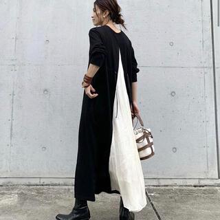 【即購入可】黒白スウェット マキシ ワンピース(ロングワンピース/マキシワンピース)