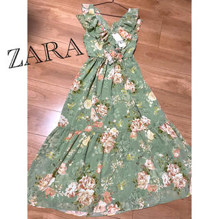 ZARA - ☆ZARA☆ザラ リゾートマキシワンピース フリル 花柄 フラワープリント