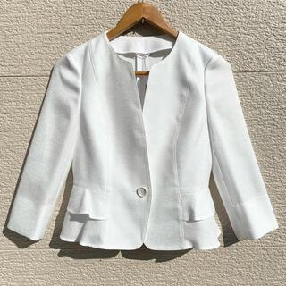 ANAYI - 新品 ANAYI アナイ ジャケット ノーカラー 白 7分袖 38