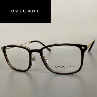 ブルガリ(BVLGARI)のメガネ ブルガリ ゴールド 鼈甲 スクエア べっ甲 金 ブラウン 度入り(サングラス/メガネ)