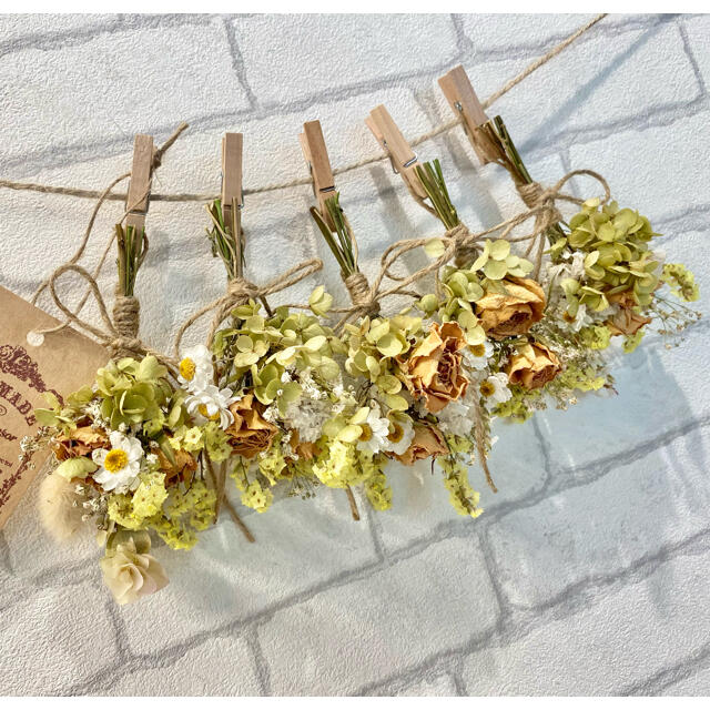 ドライフラワー スワッグ ガーランド❁323 ナチュラル 薔薇 黄色 白 花束 ハンドメイドのフラワー/ガーデン(ドライフラワー)の商品写真