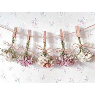 淡い3種のバラのパステルピンクドライフラワーガーランド♡スワッグ♡ミニブーケ