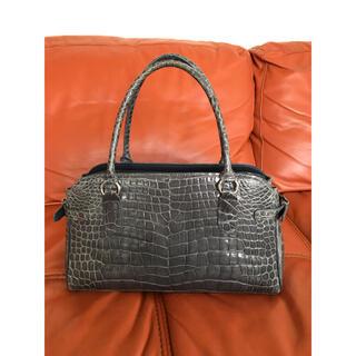 クロコダイル(Crocodile)の綺麗 JRA公認 シャイン  クロコダイル ハンドバッグ ブルーグレー (ハンドバッグ)