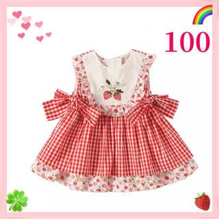 ★100★スペイン風★サマードレス★ノースリーブワンピース★いちご★海外子供服★