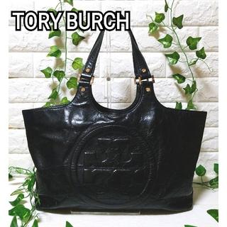 Tory Burch - トリーバーチ  レザー トートバッグ 黒 A4 ロゴマーク