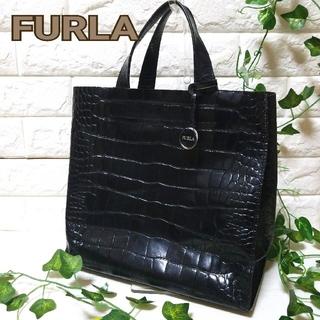 Furla - 美品 フルラ サリー トートバッグ クロコ型押し レザー チャーム 軽量