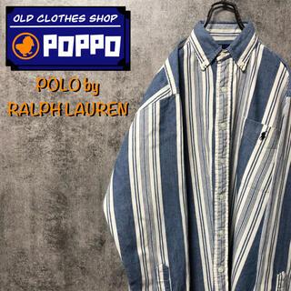 POLO RALPH LAUREN - ポロバイラルフローレン☆カナダ製ワンポイント刺繍ポケットレトロストライプシャツ
