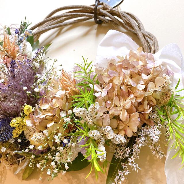 ドライフラワー 夏のお花 たっぷり 水無月紫陽花 スモークツリー リース ハンドメイドのフラワー/ガーデン(ドライフラワー)の商品写真