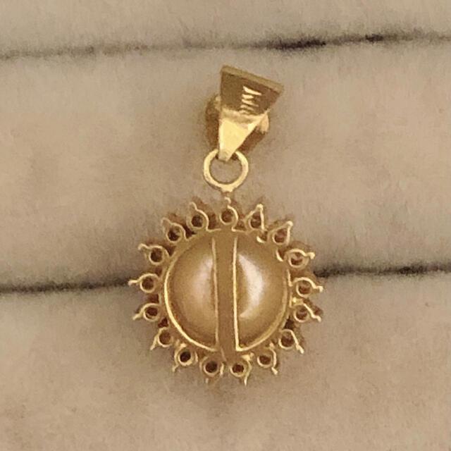 K18 ダイヤ真珠ネックレストップ レディースのアクセサリー(ネックレス)の商品写真