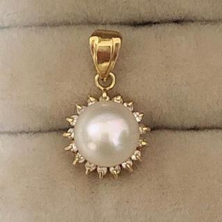 K18 ダイヤ真珠ネックレストップ