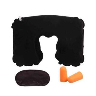 持ち運び 安眠 快適 セット 枕 アイマスク 耳栓 3点セット ブラック(旅行用品)