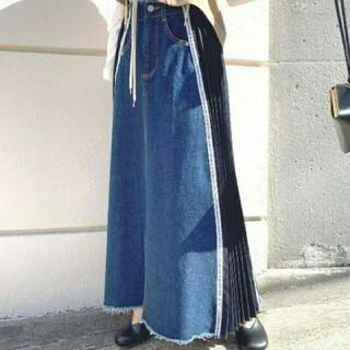 アメリヴィンテージ(Ameri VINTAGE)のAMERIVINTAGE SIDE PLEATS DENIM SKIRT(ロングスカート)