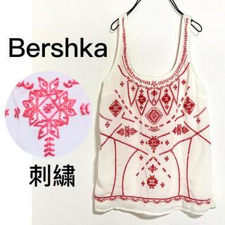 ベルシュカ(Bershka)のBershkaベルシュカ♡ピンク刺繍サラッとタンクトップ涼しげ♩(タンクトップ)