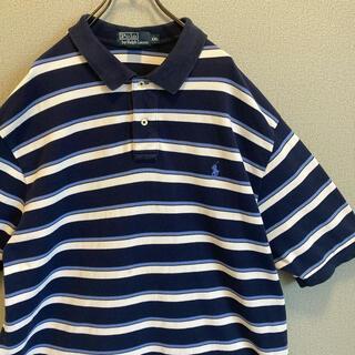 POLO RALPH LAUREN - 90s ラルフローレン XXL ボーダー 刺繍 ポロシャツ vintage