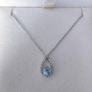 スタージュエリー(STAR JEWELRY)のスタージュエリー ダイヤモンド×アクアマリン ネックレス Pt950 2.4g(ネックレス)