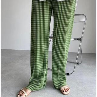 ZARA - 大人気!再入荷!グリーンギンガムチェック ストレートカジュアルパンツ 美脚パンツ
