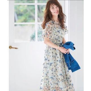 Chesty - チェスティ 花柄刺繍 ワンピース ブルー 水色 リボン