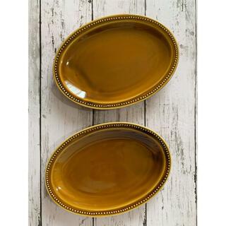 ドット アメ色 オーバル 中皿2枚 洋食器 美濃焼 オシャレ カフェ風