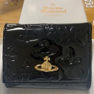 Vivienne Westwood - ヴィヴィアンウエストウッド エナメル 三つ折り財布 黒 ミニ財布 財布☆