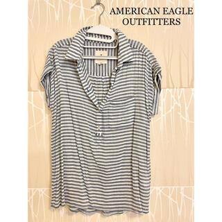 American Eagle - AMERICAN EAGLE 半袖トップス ボーダー 水色