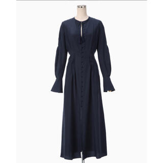 mame - Mame A-line Silk Dress  NAVY 注意点あり