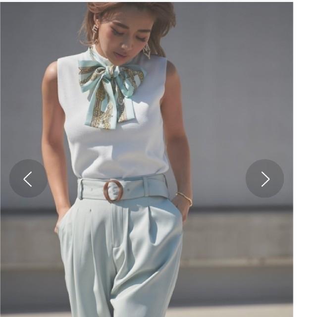 eimy istoire(エイミーイストワール)の【新品】eimy istoireスカーフデザインノースリニット レディースのトップス(ニット/セーター)の商品写真