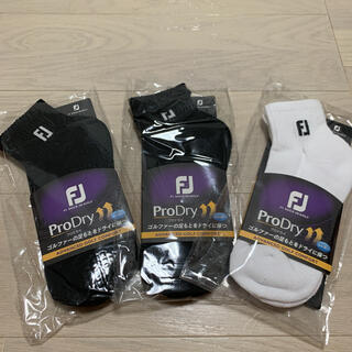 フットジョイ(FootJoy)の☆新品3足セット☆フットジョイプロドライ メンズソックス25-27cmBK/WH(ソックス)