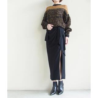 mame - Mame Draped Silky Wool  Skirt BLACK サイズ1