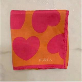 Furla - FURLAフルラ ハンカチ ハンカチーフ ピンク オレンジ ハート【美品】
