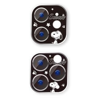 iphone 11/12proカメラフィルム レンズカバー 黒スヌーピー