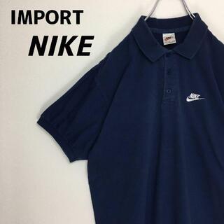 ナイキ(NIKE)の90s 輸入 NIKE ナイキ ポロシャツ 白タグ ネイビー 紺 M(ポロシャツ)