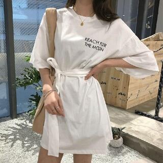 韓国ファッション カットソーワンピース ビッグサイズ ウエストマーク ホワイト