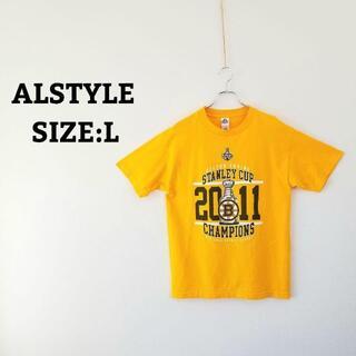 ALSTYLE 大判 プリント Tシャツ イエロー 黄色 L オーバーサイズ 夏