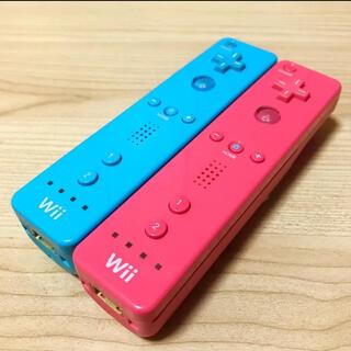 Wii - 動作確認済み⭐️任天堂Wiiリモコン2つセット〈アオ・ピンク〉