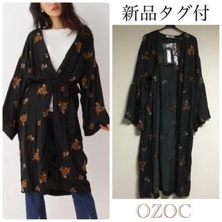 オゾック(OZOC)の【新品タグ付】OZOCフラワー刺繍サテンガウン❃黒 羽織り 花柄ガウン(カーディガン)
