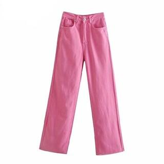 ピンク ワイドレッグ カラーデニムパンツ 《4size》  フルレングス(デニム/ジーンズ)