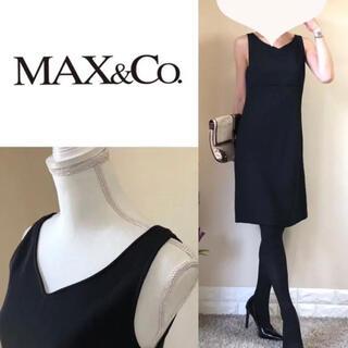 マックスアンドコー(Max & Co.)のマックスアンドコー イタリア製 スタイル美人 Vネック ワンピース 40 黒 M(ひざ丈ワンピース)
