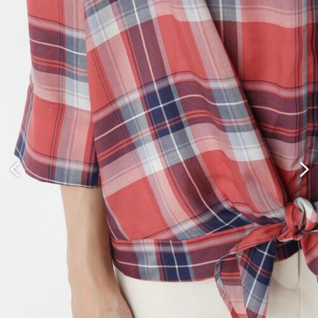 SHIPS for women(シップスフォーウィメン)のSHIPS チェックフロントリボン プルオーバー トップス 春 秋 ブルー 青 レディースのトップス(シャツ/ブラウス(長袖/七分))の商品写真