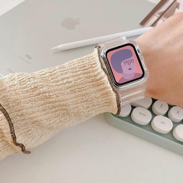 AppleWatch クリアバンド ベルト アップルウォッチ 透明 韓国雑貨 メンズの時計(ラバーベルト)の商品写真