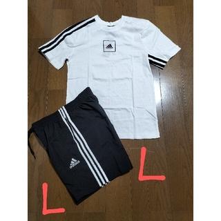 adidas - 定価7458円‼️adidas サイズ L ロゴT+ハーフパンツ黒白L未使用