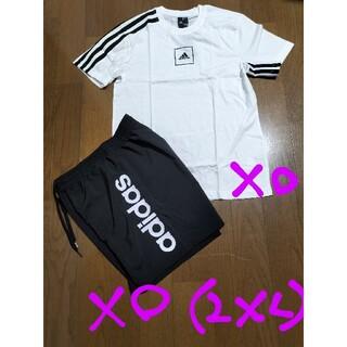 adidas - adidasサイズXO(2XL)ロゴT+ハーフパンツ黒白XO未使用