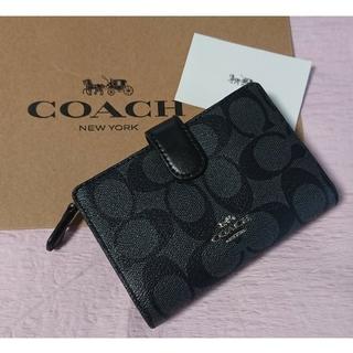COACH - ラスト1点!コーチ二つ折り財布  チャコール×ブラック
