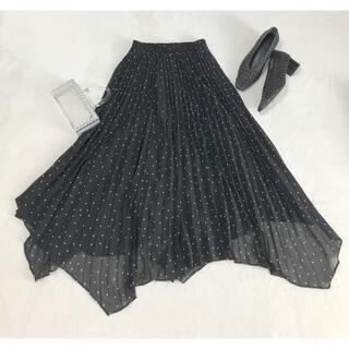 アナイ(ANAYI)の新品 ランダム アシンメトリー プリーツ ブラック タグ付(ロングスカート)