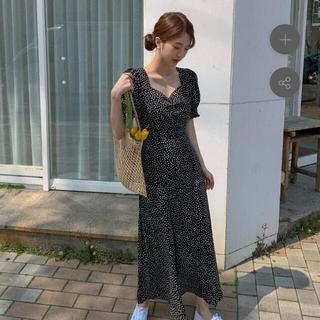 dholic - ハートネックブラックドレス